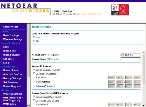 Netgear Router Configuration Page