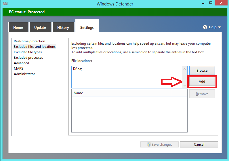 Add an exception to Windows Defender