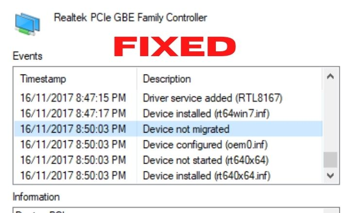 Device Not Migrated