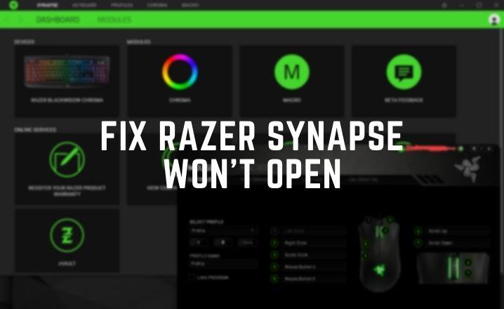 razer synapse won't open