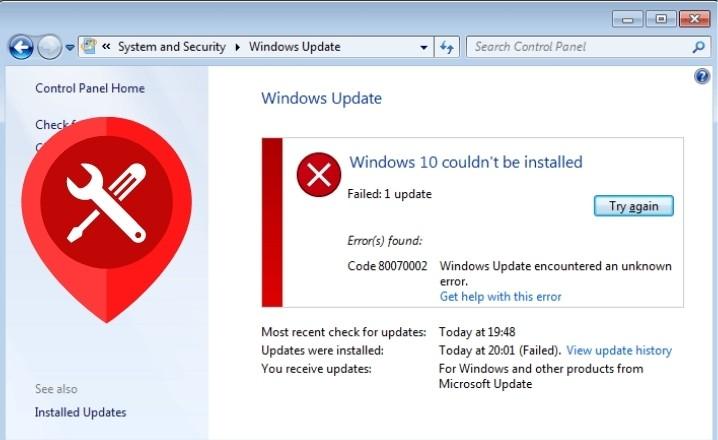 Windows 10 Update Error 0x80070002