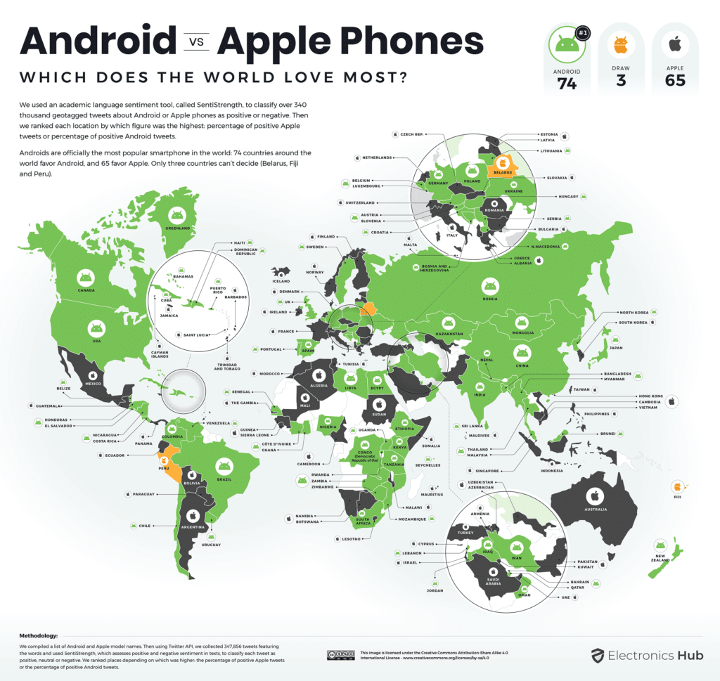 Android vs iOS Usage World Map