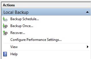 select Local Backup