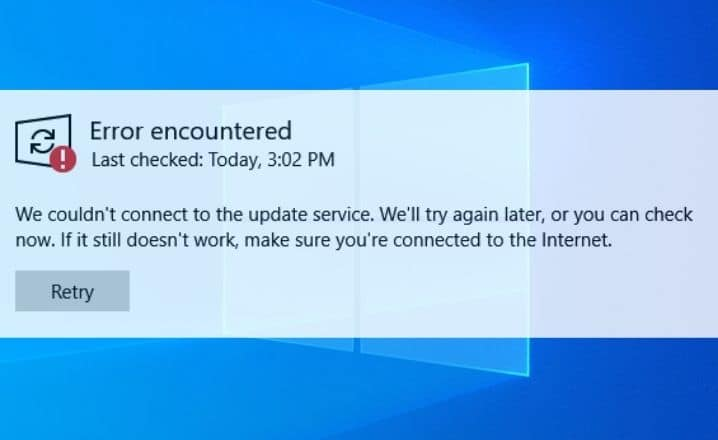 We couldn't connect to the update service windows 10