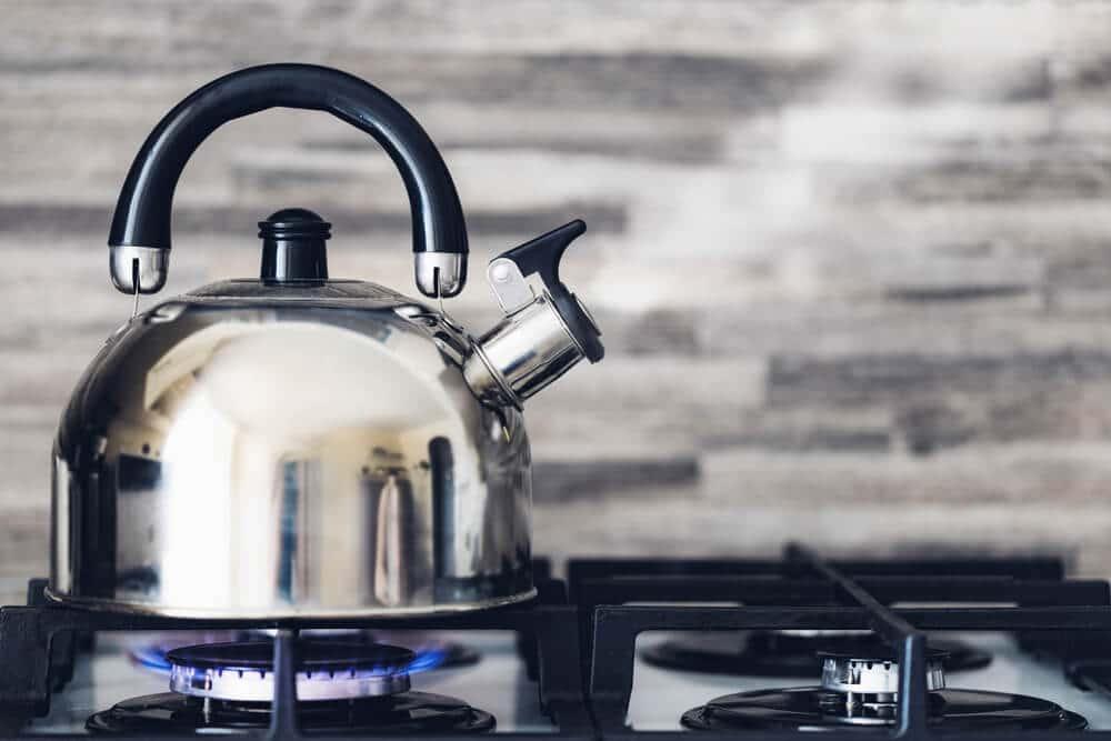 boiled water in kettle